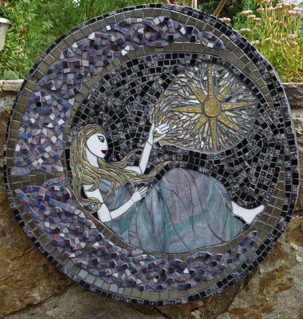 Image of a mixed media mosaic of the Moon Goddess
