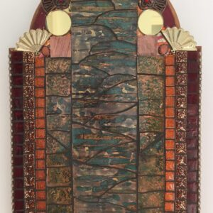 Image of a glass and ceramic mosaic in reds, golds and oranges constructed in simple lines.
