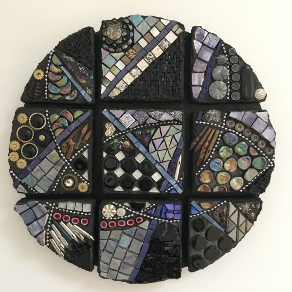 A round abstract work in black, silver and purple. The round is divided into 9 sections, separated by small gaps but connected by intersecting lines.
