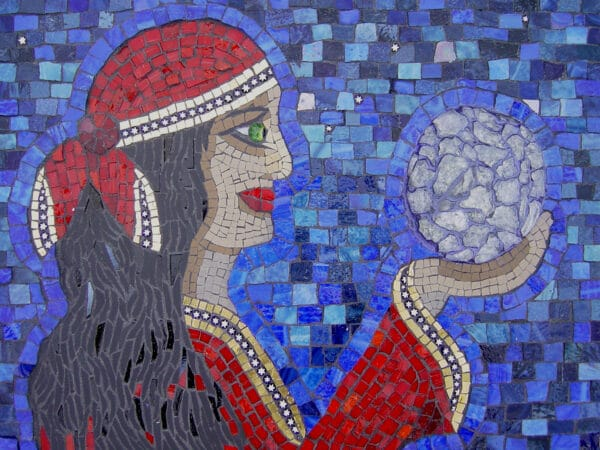Image of a Gypsy woman holding a crystal ball - glass and ceramic mosaic