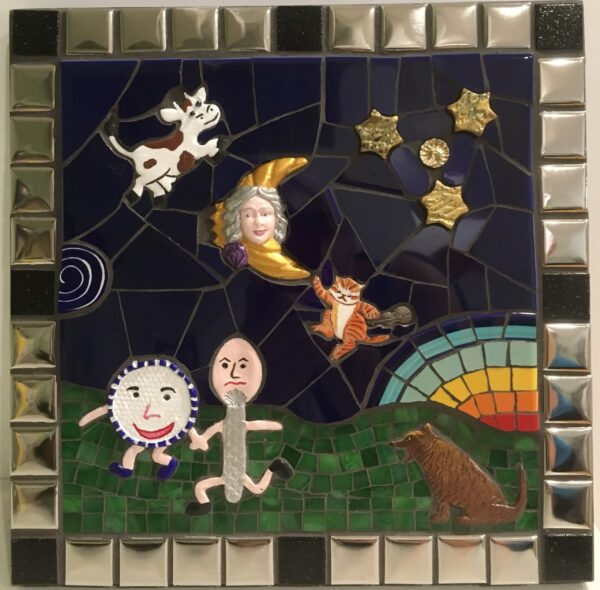 Image of a square mixed media mosaic featuring nursery rhyme characters made from polymer clay