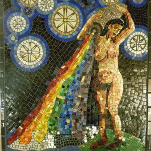 A glass mosaic featuring a nude female figure standing on the top of the earth and pouring a rainbow from an urn on her right shoulder. She is surrounded by starts with halos.