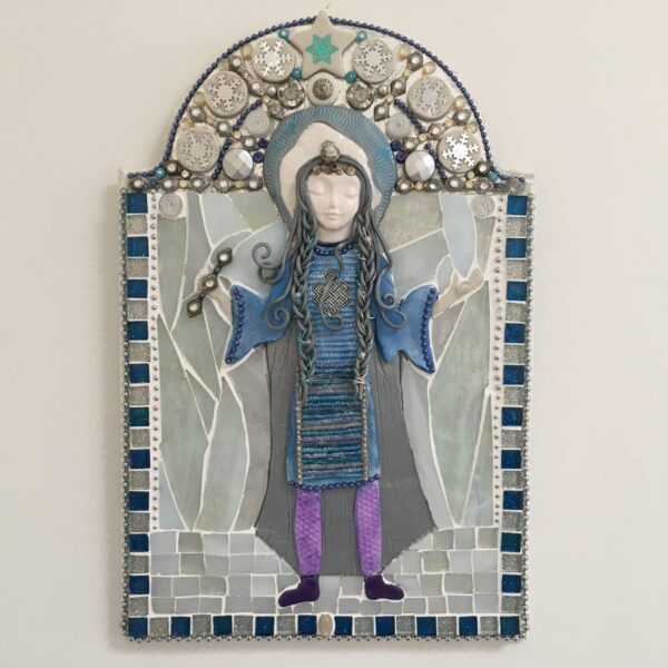 A mixed media mosaic featuring a central female figure in grey and blue holding a small staff in one hand and a clear crystal in the other, against a white background.