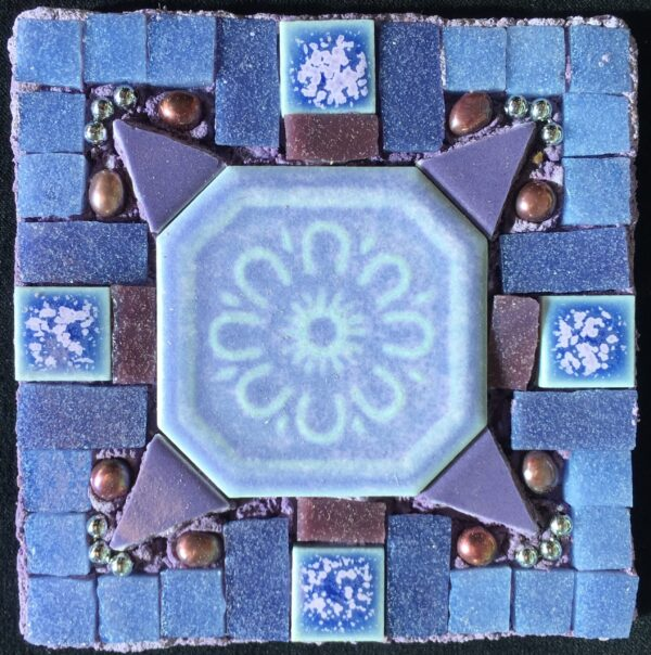 Image of a small square mixed media mosaic in purple tones