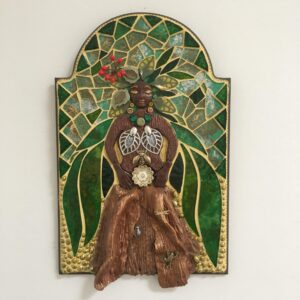 A mixed media mosaic featuring a central female figure in the shape of a tree with leaves for hair. Her bark dress is sheltering small creatures.