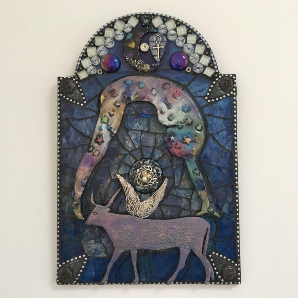 A mixed media mosaic featuring the side profile of a nude female figure bent across the sky with a large horned and winged cow beneath her.