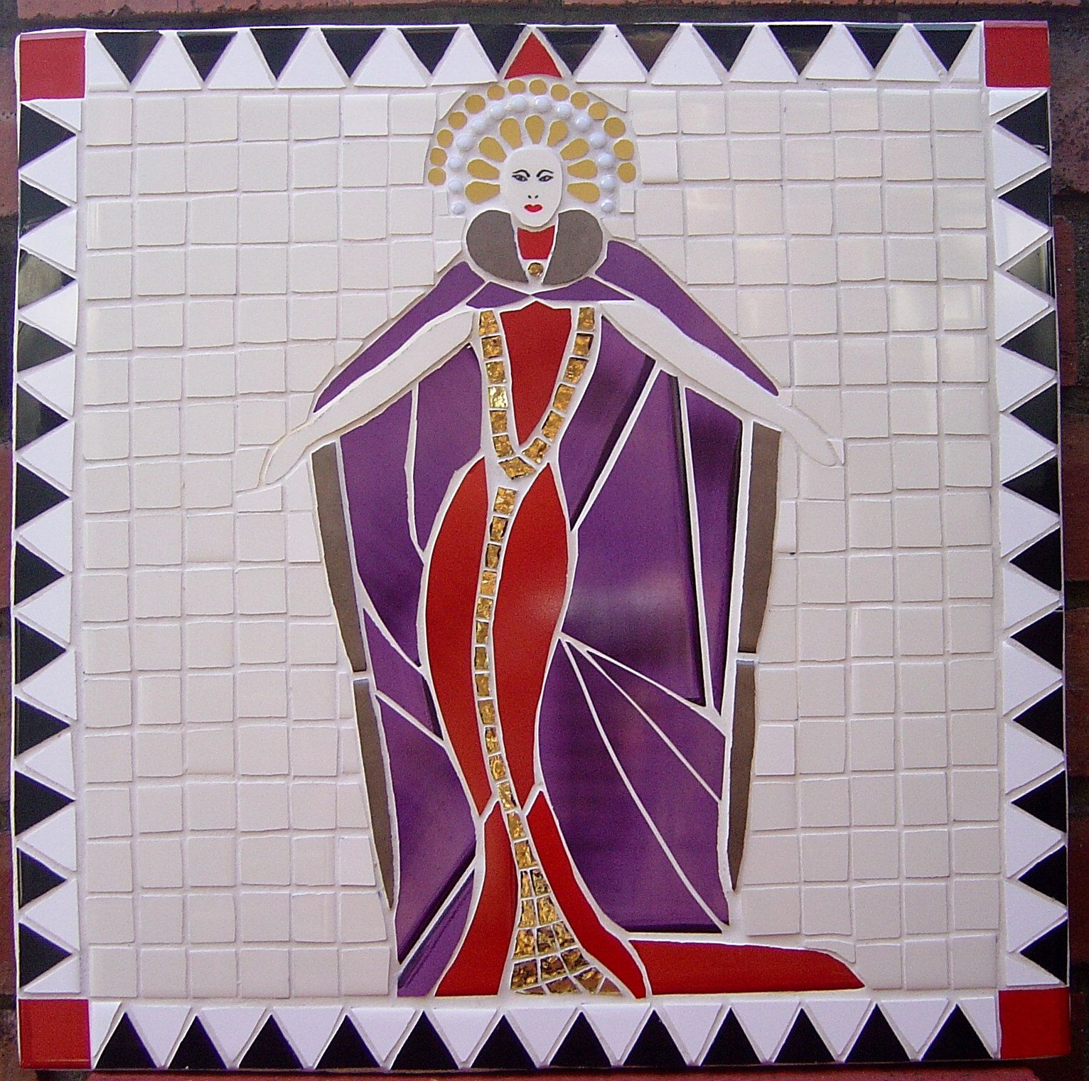 A square ceramic mosaic featuring a queenly female figure in red and purple robes against a cream background.
