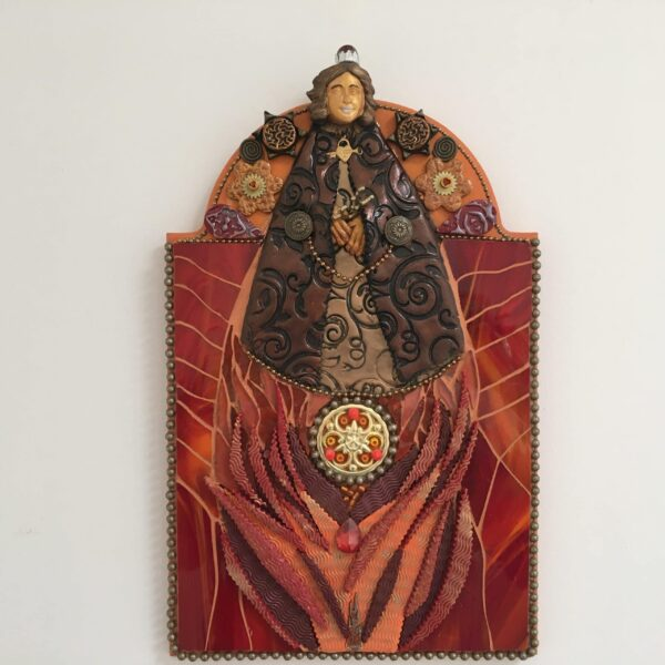 A mixed media mosaic featuring a female figurewearing a crown and floating above flames.