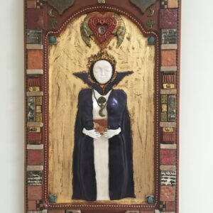 Image of a Priestess figure made of polymer clay in bas relief on wood, with a gold leaf background and mixed media frame.